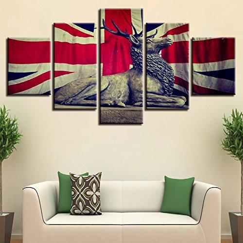 WJDJT Foto's Vlag en dierenhert muurschildering 200 x 100 cm vlies - canvas foto muurafbeeldingen woonkamer woning deco kunstdruk 5-delig modern muur ophangen huis decoratie 125x60cm