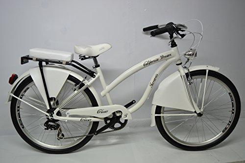 bicicletta Cruiser Custom Chopper 26 California alluminio 6v Bianca nera Grigio