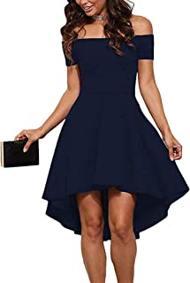 468fa1cedd35 CUQY Womens Off The Shoulder High Low Hem Cocktail Skater Wedding Party  Teen Formal Dresses (