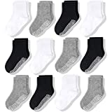 CozyWay Non Slip Toddler Socks 12 Pairs with Grip for Boys Girls Baby Infants Kids Anti Skid Cotton Crew Socks 1-3 Years