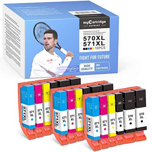 mycartridge SUPRINT 18 Cartuchos de tinta compatibles PGI-570XL CLI-571XL para Canon PIXMA TS5050 MG5750 TS5051 TS5055 TS6050 MG6800 MG6850 MG6852