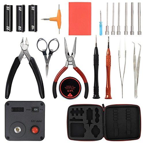 HMMJ Homeowner Tool Kit fai da te, 3 in 1 Coil Winding Jig Set + pinze ad ago + Wire Cutter + pinzette in ceramica + Scimitar pinzette in acciaio inox + Scissor + Ohm tester + 8-in-1 penna a forma di cacciavite + PP Storage Box