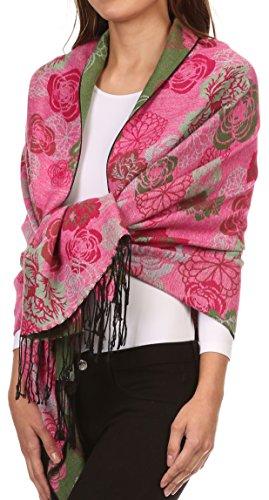 Sakkas CHS1810 Ontario Doppelschicht Blumen Pashmina/Schal/Wrap/Stola mit Fransen - 3-grün - One Size Regular