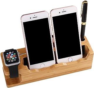 充電スタンド 竹製 スマホスタンド 木 充電 タブレットスタンド 卓上 Apple Watch スタンド 3 IN 1 多機能 充電スタンド 名刺収納 ペン立て iPhones/iPad/Nexus/Galaxy/タブレットPC スマートフォンなど充電対応 (A)