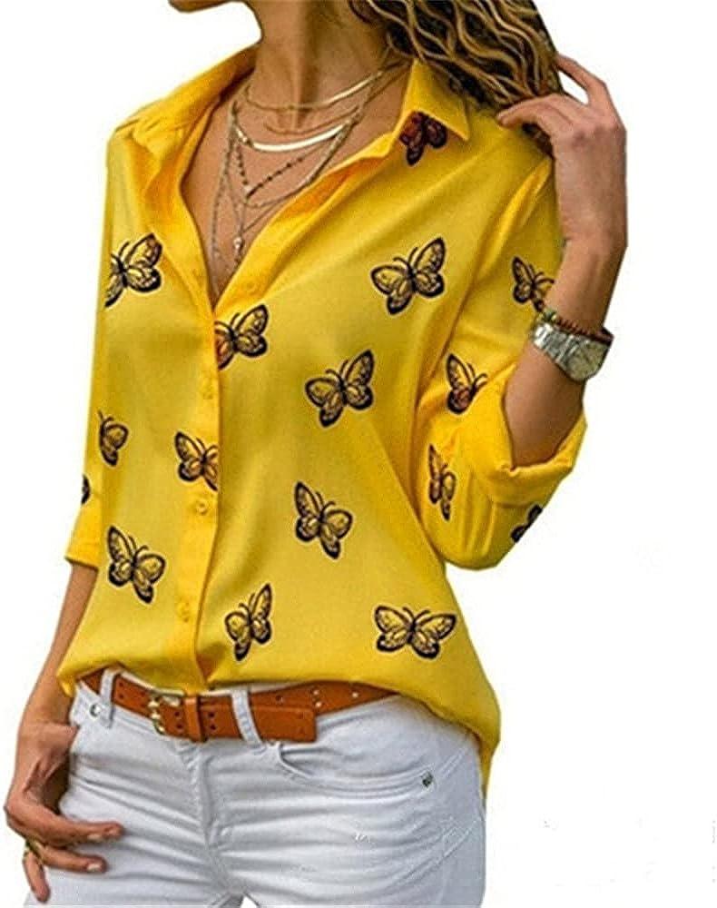 Holatee Women's Casual Butterfly Print Lapel Button Down Long Sleeve Chiffon Shirt Loose Top Blouse