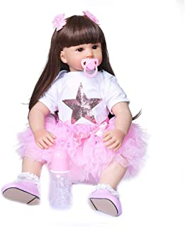 "Lifelike Baby Doll Handmade, 60 Cm 24"" Toddler Reborn Baby Dolls Soft Silicone Cloth Body, Realistic Babies for Kids Bath ..."