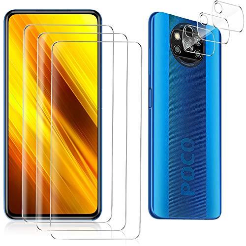 GOMAN Protector Pantalla para Xiaomi Poco X3 NFC [3 Pack] + Protector de Lente de cámara [3 Pack], Cristal Templado de HD Anti-arañazos [Cobertura máxima] [Garantía de por Vida]