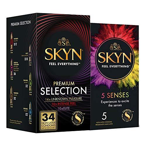 SKYN Premium Selection, Selección De Diferentes Preservativos Sin Látex SKYN, Paquete De 34 Más Un Paquete De 5 Preservativos SKYN Five Senses