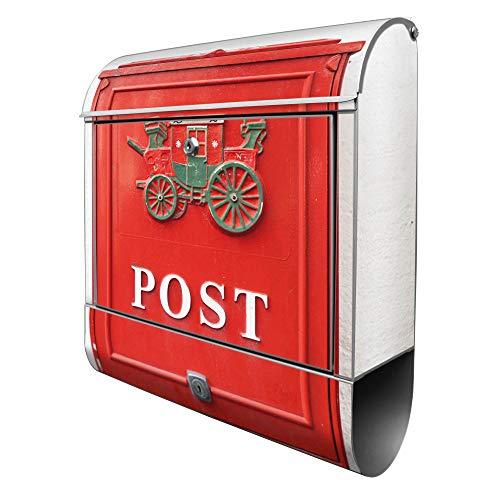 Banjado Design Briefkasten mit Motiv Postkasten Nostalgie | Stahl pulverbeschichtet mit Zeitungsrolle | Größe 39x47x14cm, 2 Schlüssel, A4 Einwurf, inkl. Montagematerial