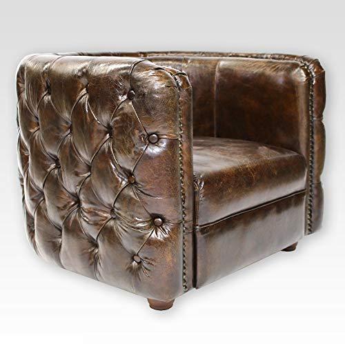 Phoenixarts Sessel Chesterfield Ledersessel Vintage Design Ohrensessel Leder Lounge ClubSessel (Braun 462)