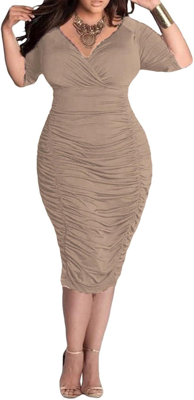 LaSuiveur Womens V Neck Low Bust Cascading Ruffle Slim Fit Plus Size Dress