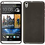 PhoneNatic Case kompatibel mit HTC Desire 816 - schwarz Silikon Hülle transparent + 2 Schutzfolien