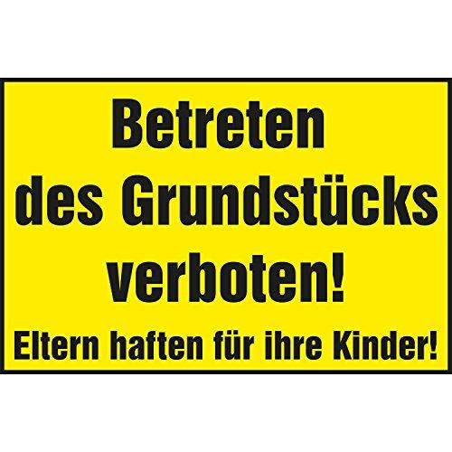 VerbodsbordBetreten des terrein verboden! Ouders hechten voor hun kinder!   400x250 mm   geel/zwart   1 stuk