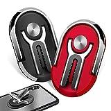 2 Piezas Multifuncional Universal Anillo Soporte para Movil 360° Rotación, Soporte Movil Coche, para Rejillas del Aire de Coche,Inicio (Negro + Rojo)