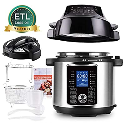 MOOSOO Pressure Cooker Air Fryer Combos, 6 Quart 1500W All-in-One Electric Pressure Cooker Air Fryer, Two Detachable Lids for Pressure Cooker, Air Fryer, Rice Cooker, Slow Cooker, Steamer & Warmer, Dial Control Panel & LED Digital Touchscreen, Free Recipe