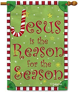 KafePross Jesus is The Reason for The Seaon Religious Decor House Flag Merry Christmas Winter Snow Home Decorative Banner for Outdoor 28x40 Inch Printed Double Sided