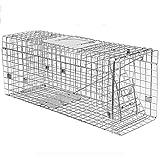 JB-BSQ Gran Trampa De Actividad Humana Plegable, Trampa para Animales, Jaula para Gatos Totalmente Automática, Plata - 90x33x30cm