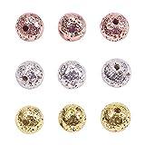 PandaHall Elite alrededor de 180 cuentas de lava galvanizada de 3 colores, 6 mm cuentas redondas de piedra de roca para pulseras de hombres suministros de fabricación de joyas