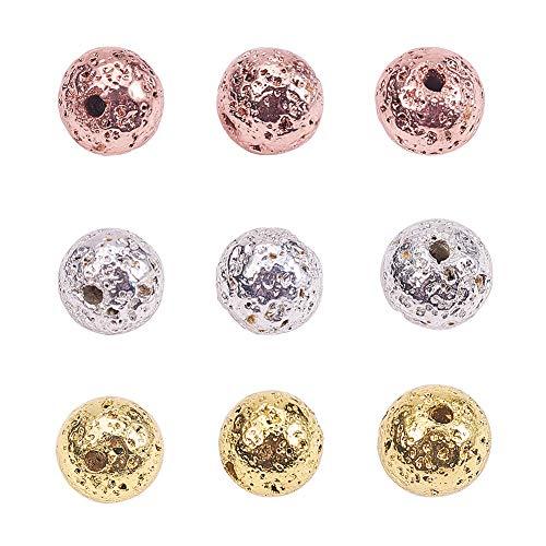 PandaHall Elite Acerca de 180 cuentas de lava galvanizadas de 3 colores, 6 mm, cuentas redondas de piedra de roca para hombres pulseras de joyería suministros
