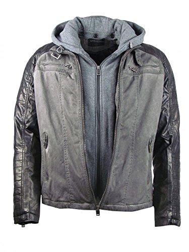 Ganeder Jacke - Bikerstyle - im Double Look - mit Kapuze - grau Größe XL