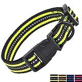 Mile High Life Night Reflective Double Bands Nylon Dog Collar (Lime Green, Medium Neck 13'-17' -40 lb)