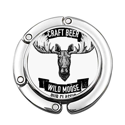 Cerveza Artesanal Wild Moose Pub Cabeza de Ciervo antílope clásica con Etiqueta de astas Bolso de Mano Plegable Personalizado Bolsa Monedero Soporte de Gancho
