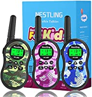 Nestling Kids Walkie Talkies, Camo Exterior Vox Box Voice Activated 2 Way Radio Toy with Backlit LCD Flashlight, 3 Miles...