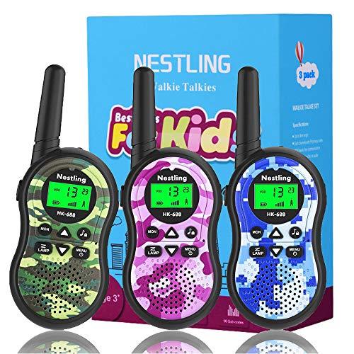 Nestling Walkie Talkie Bambini, 8 Canali Radio Giocattolo a 2 Vie con Torcia LCD Ricetrasmittenti Giocattoli All'aperto al Coperto, Regali per 3-12 Ragazze o Ragazzi