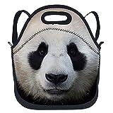 Panda - Bolsa de almuerzo de neopreno aislada con correa para el hombro extraíble, reutilizable y térmica para niños, adolescentes, viajes, trabajo, oficina, escuela, color negro y blanco