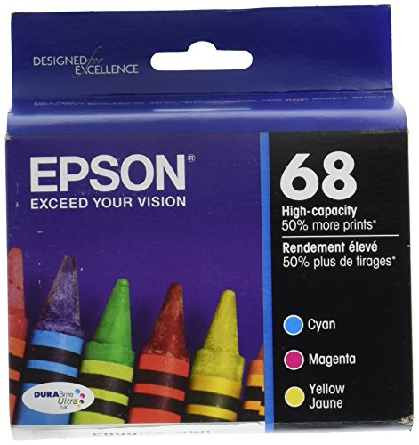 Epson 68 Ink Genuine OEM T068520 Plus Black-All 4 Color Including Black Workforce 500, 600, 610, 615