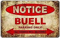 ビューエルモーターサイクルパーキングのみブリキサイン壁の装飾金属ポスターレトロプラーク警告サインオフィスカフェクラブバーの工芸品