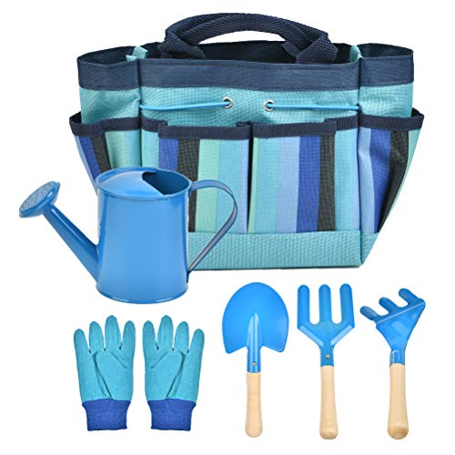 FOROREH Kinder Gartenwerkzeug-Set, Gartentasche kompakt aus Holz und Eisen, Spielwerkzeuge für den Garten,...