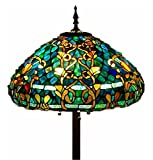 Tiffany Style Stained Glass 20' Shade Floor Lamp'Azure Sea'