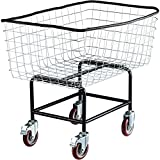 VEVOR Wire Laundry Cart, 4.5 Bushel Wire Laundry Basket with Wheels, 35''x15.7''x22'' Commercial Wire Laundry Basket Cart, Steel Frame with Chrome Finish, 5'' Casters, Wire Basket Cart for Laundry