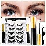 Coolke Magnetic Eyelashes with Eyeliner-2 Tubes of Magnetic Eyeliner & 5 Pairs of Magnetic Eyelashes,Magnetic Eyelashes Kit