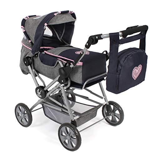 Bayer Chic 2000 562 26 Kombi-Puppenwagen Roadstar für große Kinder, mit herausnehmbarer Tragetasche und Wickeltasche, grau-Navy