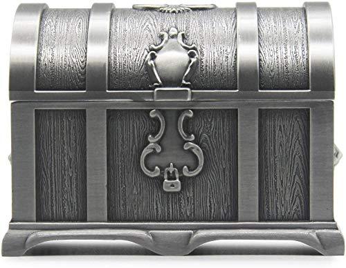 YYQLLXH Joyero rectangular grande vintage personalizado, caja de almacenamiento de joyas de metal cofre del tesoro, regalos de boda y cumpleaños para niñas y mujeres-Grande_Estaño