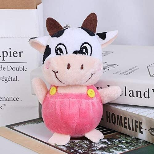 MEELLION Juguetes de Peluche Poco 10cm Little Cow Relleno Felpa Juguetes, la Cadena dominante de muñecos de Peluche, Juguetes de Peluche Niños Rosa, Color: Púrpura Amor de una Vida (Color : Pink)