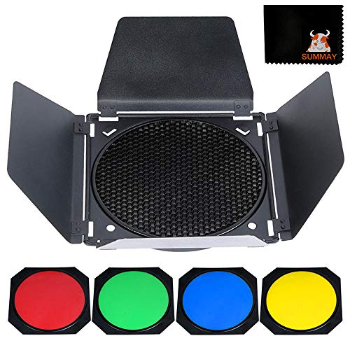 GODOX BD-04 Scheunentor Solid Barndoor Kit für 7`` Standard Reflektor mit Wabengitter und 4 Farbgelfiltern Studio Flash Speedlite (BD-04)