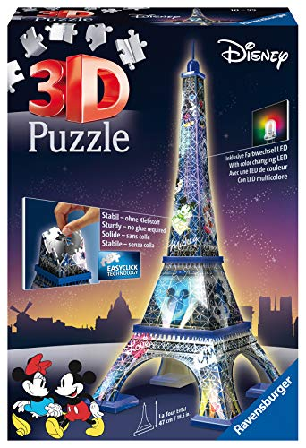 Ravensburger Italy - Disney Classics Tour Eiffel Puzzle, 3D Building, Night Edition, 12520