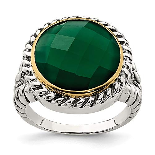 925 Sterling Silver 14k Round Green Black Onyx Band Ring Size 8.00 Stone Natural Fine Jewellery For Women Gifts For Her