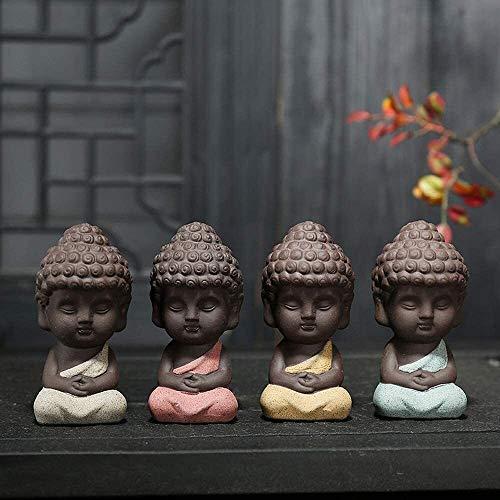 MONJ/Rulai Buda Estatuas Decoraciones China Purple Clay/Zisha Tea Pet (Conjunto de 4) Decoración para el hogar y la Oficina Hecho a Mano Best Regalo Kungfu Tea Tea Bandeja Accesorios 326