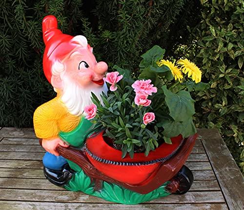 Gartenzwerg mit Pflanzkarre Schubkarre zum Bepflanzen Figur Zwerg H 43 cm Gartenfigur aus Kunststoff