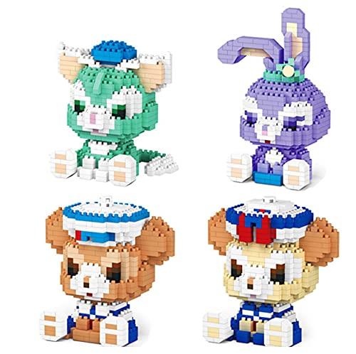 BAIDEFENG (4 Stück) Micro Mini Blöcke Cartoon Stella Kaninchen Bausteine Spielzeug Modell Kit DIY Gebäude Spielzeug 3D Puzzle Mini Ziegel Ausbildung Spielzeug Für Erwachsene Kinder