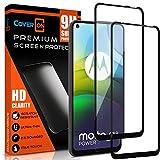CoverON Bildschirmschutzfolie aus gehärtetem Glas für Motorola Moto G9 Power, kratzfest, Randabdeckung von Kante zu Kante, Schwarz, 2 Stück