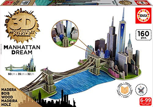 Educa Borrás- Puzzle 3D Dibujos Animados y cómic Puente de Brooklyn (17000)