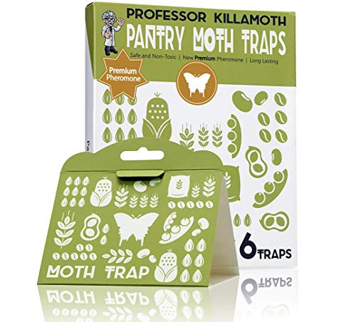 Professor Killamoth Pantry Moth Traps 6 Pack   Child and Pet Safe   No Insecticides   Premium Attractant