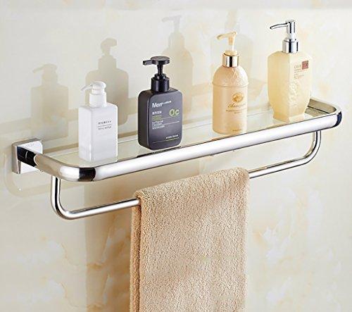 Bathroom Rack YSJ Verre trempé fixé au Mur en Verre rectangulaire d'étagère de Salle de Bains Extra épais, Sable argenté pulvérisé, (Taille : 63 * 14 * 10cm)