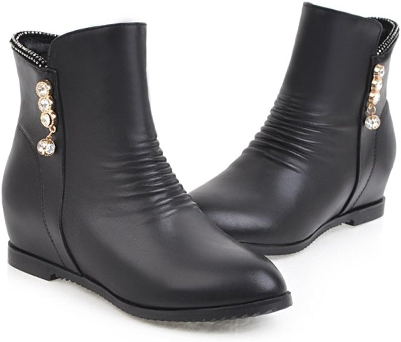 QZUnique Women Casual Ankle Booties Increased Height Hidden Heel Round Toe Zipper Martin Boots