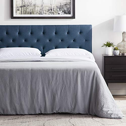 """LUCID Mid-Rise Upholstered Headboard - Adjustable Height from 34"""" to 46"""", Queen, Cobalt"""